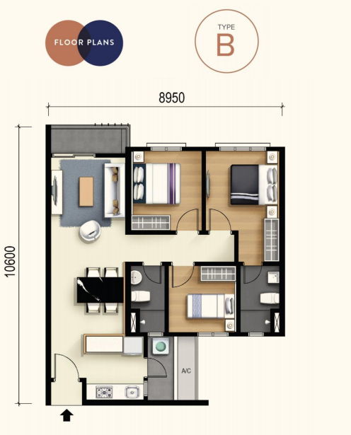 M Luna 3-bedrooms 850 square feet - Type B