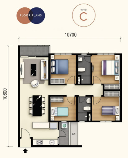 M Luna 3-bedrooms 1000 square feet - Type C